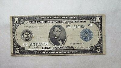 BARGAIN Series of 1914 Large Size Blue Seal $5 FRN New York 2-B FINE Fr#851-A