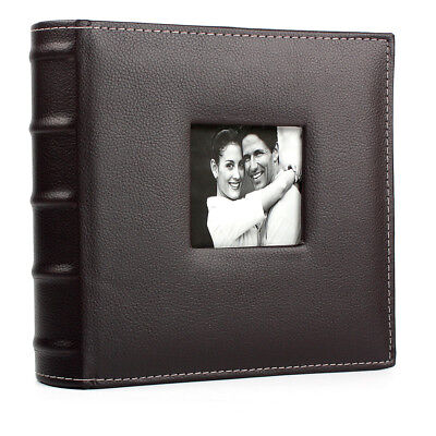 """Large 6""""x4"""" 200Pcs Brown PU Leather Vintage Photo Album Slip in With Memo Area"""