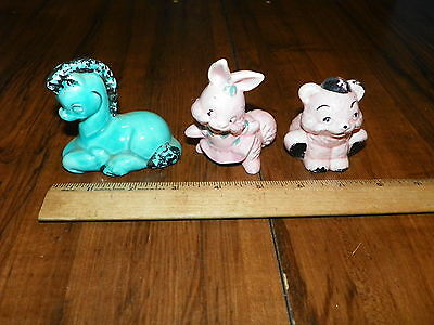 Vintage Lot of 3 Ceramic Character Animal Figurines                            !