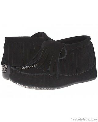 NEW Manitobah Mukluks Paddle Suede Moccasin, Black, Beaded, Women Size 5  $99