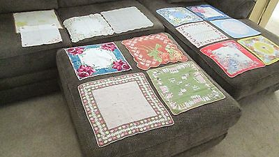 Vintage Handkerchief LOT of 14 w/holes or stains 1930-50s