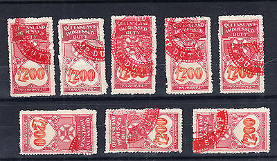 Queensland,£200 Revenue 1930 Numeral Impressed Duty Red Cancel,PER STAMP