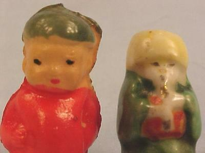 2 Celluloid Dollhouse Dolls Little Boys Miniature Vintage
