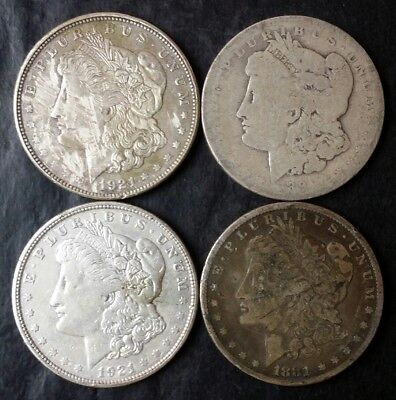 Lot of Four $1 Morgan Silver Dollars