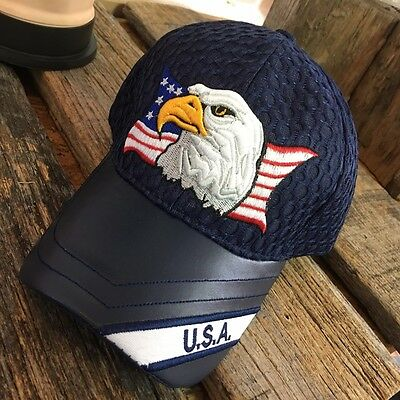 BLUE Eagle USA American Flag Mesh Baseball Cap HAT With Leather Bill NEW -W