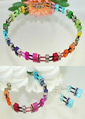 3er Schmuck Set Cube POLARIS Cat Eye multicolor KRISTALL mehrfarbig Strass 500i
