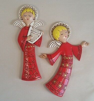 2 Mid Century Modern Ceramic Red Angel Wall Plaques