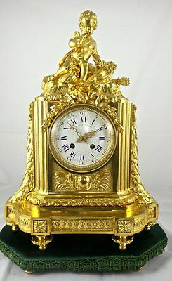 Early 1800's French Empire Gilt ormolu bronze Mantel clock & base - Julien Leroy