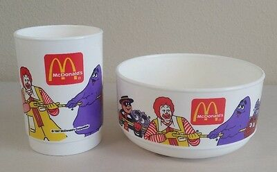 Vintage 1997 McDonalds Character Plastic Bowl and Cup