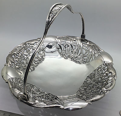 Chinese Export Silver Pierced Floral Basket Signed Siu Kee 438 Grams!!!