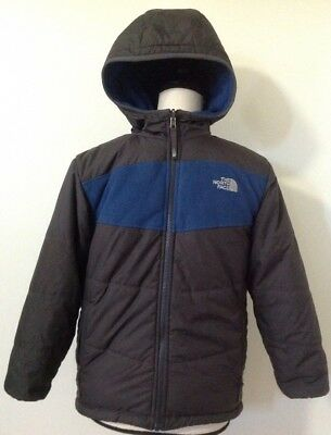 Boys The North Face Jacket Sz M 10/12 Blue True Or False Reversible Fleece Coat