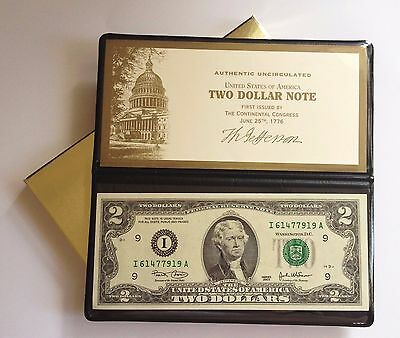 Uncirculated 2003 Series $2 Dollar Bill From Ft Fort Worth D Mint In Holder