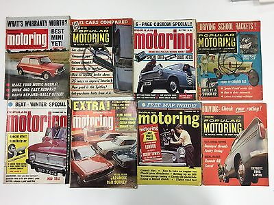 Collection Of 16 Popular Motoring 1962 - 1974 Vintage Car Magazines Job Lot L16