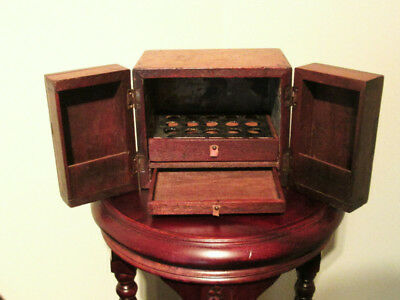 Antique Medical : 1800's Folding Door Medicine Chest With Drawers