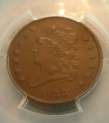 1833 Classic Head Half Penny Cent - Pcgs Au55!!!  Very Beautiful Coin!!!