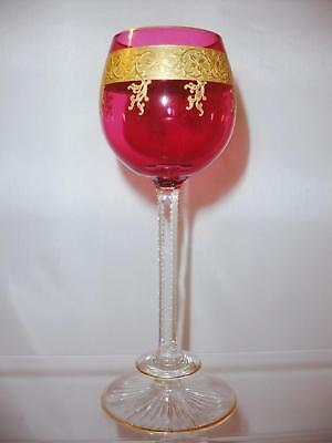 Attributed Saint Louis Gilt Glass Cranberry Wine Hock Notched Stem