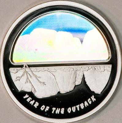 2002 $5 Australia Year Of The Outback Silver Proof Holographic Item#M955