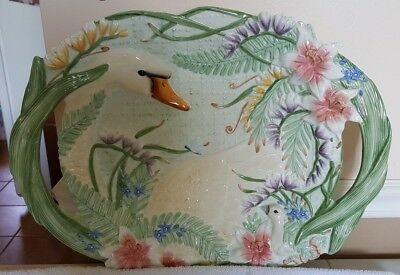 Fitz & Floyd Classics FLORAL SWAN LARGE Handled Serving Dish Tray Platter