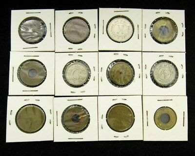 Lot of 12 Vintage Antique Amusement Park & Carnival Tokens