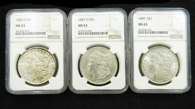 1880-S 1883-O 1889-O Morgan Dollars - NGC MS 63 - $1 Silver Certified & Graded