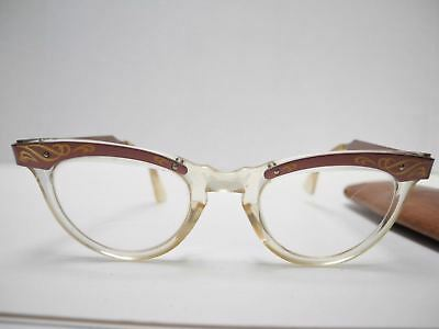 1950's American Optical Cats Eye Etched Bronze Color Eyeglasses Size 5 1/2