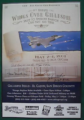 SIGNED 9th ANNUAL WINGS OVER GILLESPIE POSTER 1st 100 YEARS OF AMERICAN AVIATION