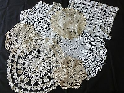 Vintage Lot of 7 Large Assorted Crocheted Doilies