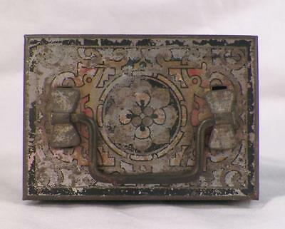 Antique Tin Money Box Lithograph Trinket Jewelry Black Lock Key Missing As Is