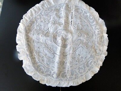 Antique Lace- Pretty Round Pillowcocer W/filet,embroidery