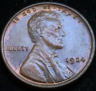 Beautiful High Grade Red Brown Choice Uncirculated 1924 Lincoln Wheat Cent!