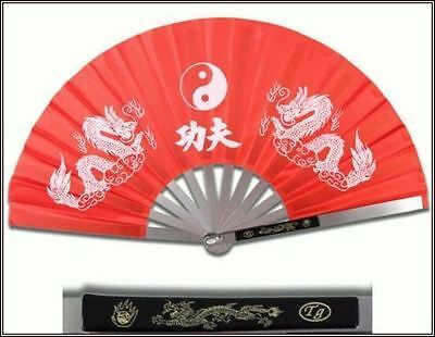 Tai Chi Red Metal Steel Kung Fu / Wushu Martial Arts Fighting Fan Dragon NEW!