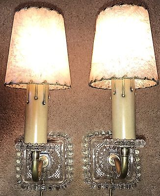 2 Vintage Clear Glass & Brass Wall Hanging Sconce Lamp Lights Fiberglass Shades
