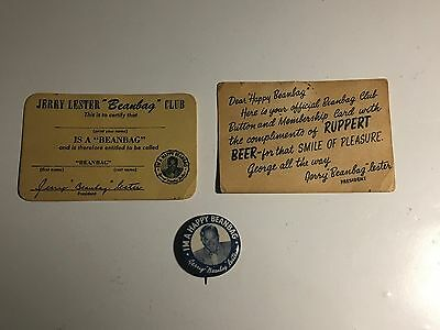 1940's Ruppert Beer Jerry Lester Beanbag Club pin and cards