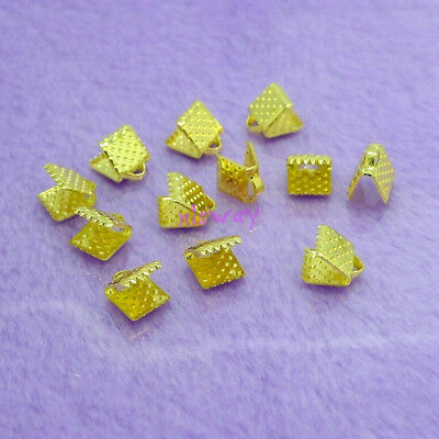 100pcs Gold Plated Ribbon Clamps Crimp End Beads 6mm DIY Jewelry Making