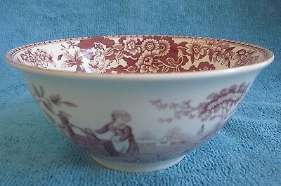 SPODE Archive Collection GIRLS at WELL cranberry pink & off - white 6.3cm BOWL