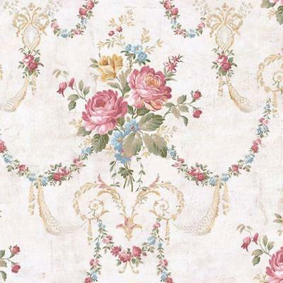 Wallpaper Victorian Floral Bouquet Swag Multi Colors on White Crackle Background