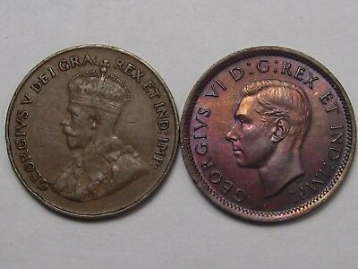 2 Better-Date Canadian Small Cent Coins: 1922 (Key) & 1939 (Unc). Canada.  #39
