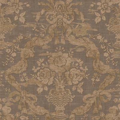 Wallpaper Designer Large Tan Floral with Ribbon & Bows Damask on Taupe Gray