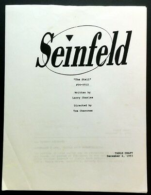 "Seinfeld TV Script ""The Stall"" Table Draft Written by Larry Charles 1995"
