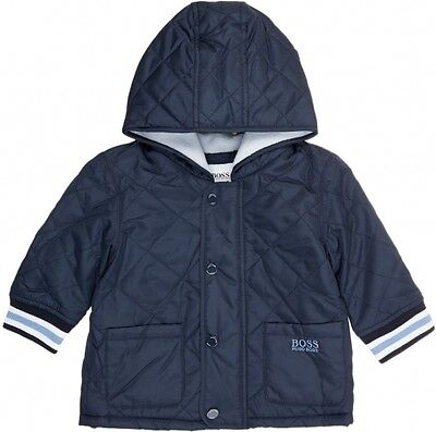 Rare Hugo Boss Logo Quilted Jacket Coat Age 12 Months Hood Blue 9 Genuine 12M