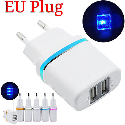 Travel DC 5V 2.1A Dual USB Ports EU Plug Wall Charger Offer Fast Charger Adapter