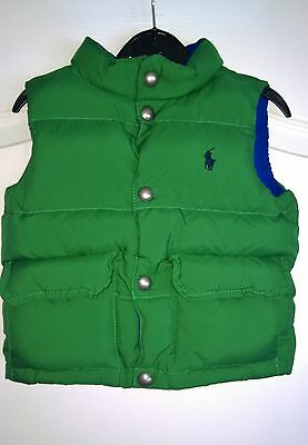 Rare Ralph Lauren Padded Down Gilet Jacket Age 18 Months Baby Boy Blue Green