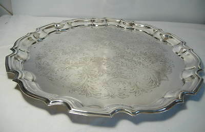 Silver Plated Scalloped Edged Circular Tray 14 Ins. By Cavalier