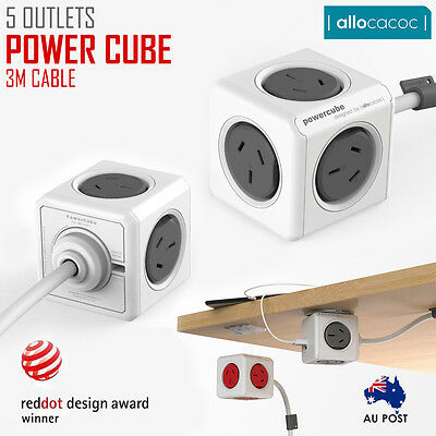 Allocacoc Powercube Extened 5 Outlets 3M Cable Power Board With Surge Au