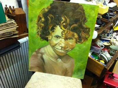 Australian Painting On Board Of Aboriginal Girl Unframed Free Uk Postage