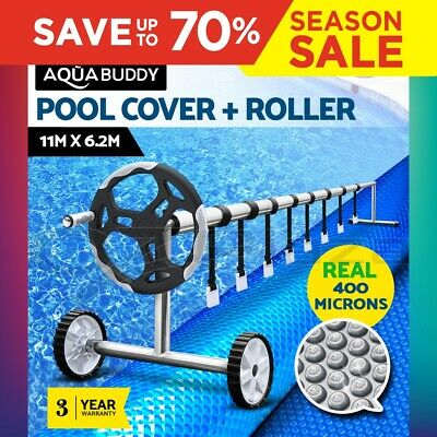 Solar Swimming Pool Cover Blanket Bubble with Roller Wheel Adjustable 11 x 6.2M