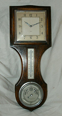 Antique Oak Cased 8 Day CLOCK, BAROMETER, THERMOMETER, Weather Station