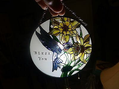 "Joan Baker ""Bless You"" Humming Bird & Flowers Stained Glass Window Hanging 4.5"""