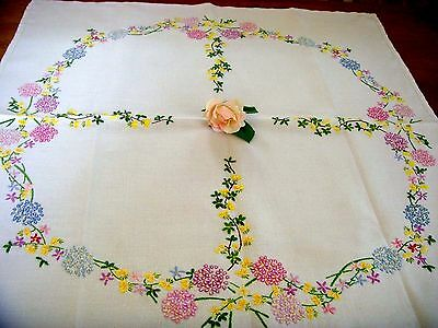 Vintage Hand Embroidered Linen Tablecloth Circle Of Summer Flowers Hydrangeas