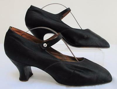 """Vintage 1920's Flapper Black Satin & Mother of pearl Button """"Mary Jane"""" Shoes"""